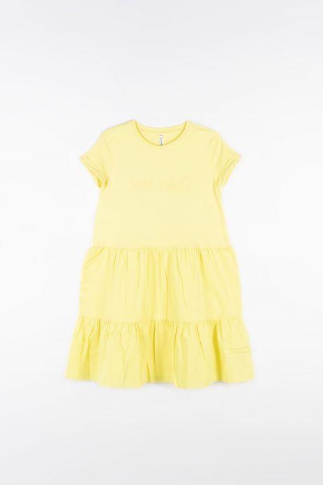 Kleid aus kombinierten Stoffen